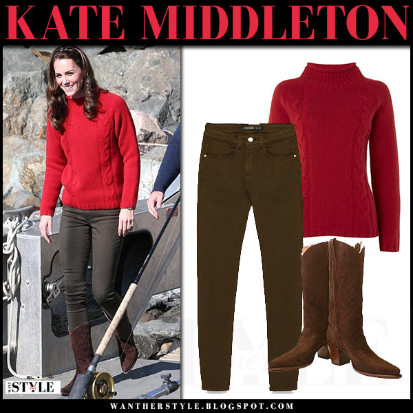 Kate Middleton in red sweater and khaki jeans in Canada on ...